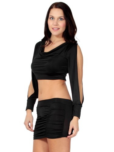 Slit Long Sleeve Crop Top & Low Rise Booty Skirt: 2pc Dancewear Set w/ Thong