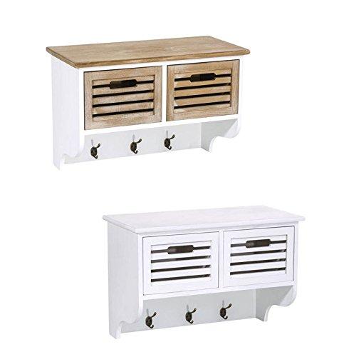 CLP-Wand-Garderobe-CALIX-aus-Holz-mit-3-Haken-und-2-Schubladen-Landhausstil-57-x-29-cm-Hhe-41-cm-braunwei