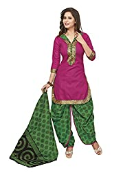 Gugaliya Women's ROYAL CLASS Premium CELEBERATION Series 100 % Cotton UNSTICHED RED color Patiala Salwar, Kameez & Dupatta Suit (Baalar 214)