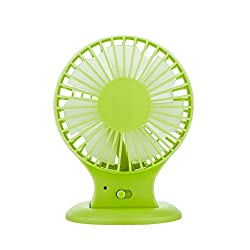 KINGMAS Portable USB Mini Desktop Dual Blades Fan - Rechargeable 2-Mode Speed Adjustable Quiet Design for PC Laptop Blue Green