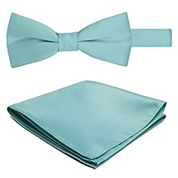 Jacob Alexander Solid Color Men\'s Bowtie and Hanky Set - Aqua Blue