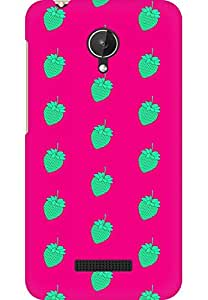 AMEZ designer printed 3d premium high quality back case cover for Micromax Canvas Spark Q380 (green pink strawberries)
