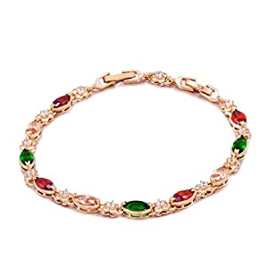 Romantic Time Garland Butterfly Linked Colorful Gemstone Studded Link Bracelet (Transparent)