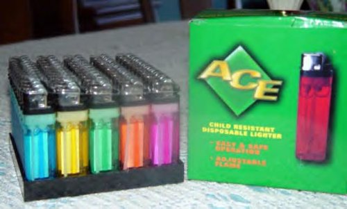 Disposable Lighters, Assorted Colors With Stand. Sold As a 50 Pack