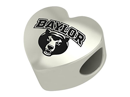 Baylor Bears Heart Sterling Silver Bead Fits Most European Style Bracelets