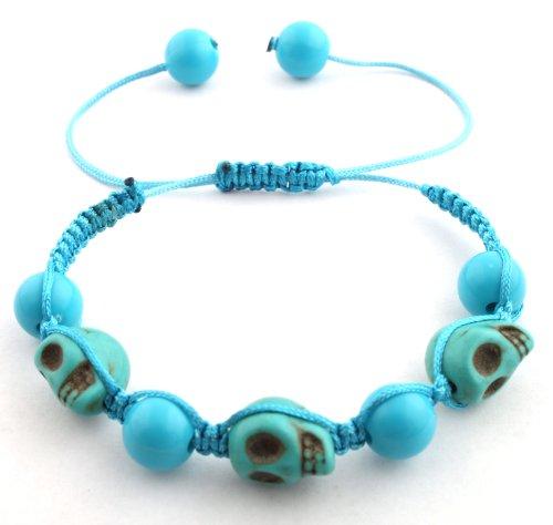 Blue Skulls and Beaded Balls Adjustable Bracelet Macrame Shamballah