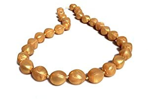 Peacemaker Jewelry Olive Bead Teething Necklace (Gold)