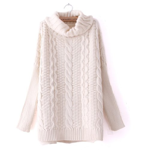 Women Girl Thickening Twist Braid Split High Collar Long Sweaters (Beige)
