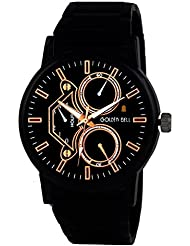 Golden Bell Original Chronograph Look Black Dial Black Steel Wrist Watch For Men