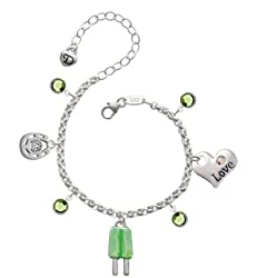 Lime 2-D Popsicle Love & Luck Charm Bracelet with Peridot Swarovski Crystals