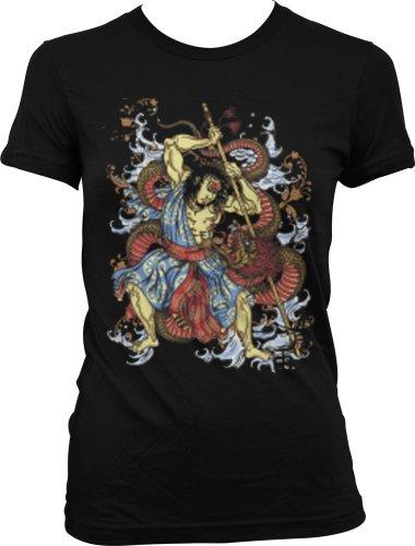 Warrior Battling Dragon Juniors Tattoo T-Shirt, Old School Samurai Tattoo Juniors Tee, Medium, Black