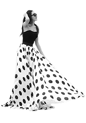Women's Fashion Chiffon Polka Dot Print High-waist Summer Long Maxi Skirt (XX-Large, White)
