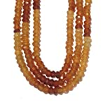 Hessonite Necklace 01 Multi-strand Yellow Garnet Facet Triple Layer Beaded 17