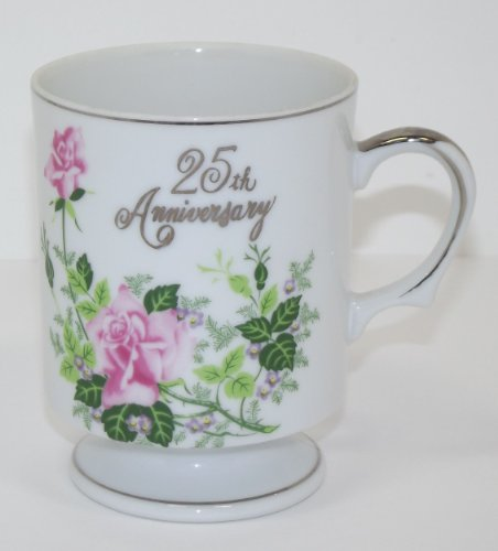 Vintage 25th Anniversary Silver Collector Coffee Cup Vintage Fine China Japan