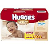 Huggies Soft Skin Baby Wipes, Refill, 504 Count