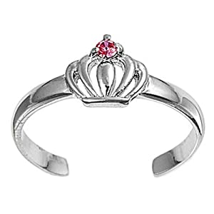 6mm Italian .925 Sterling Silver ROYAL QUEEN CLADDAGH CROWN with PINK SAPPHIRE CRYSTAL STONE Summer Flip-flops Sandal Toe Ring (One-size-fit-all)
