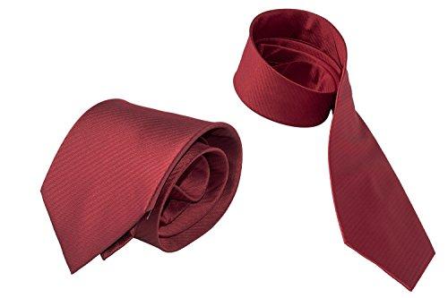Cravatta uomo LANCETTI rossa tinta unita fantasia regimental 100% seta B362