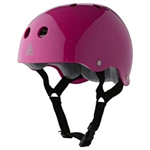 Triple Eight Brainsaver Glossy Pink Skate Helmet & Sweatsaver Liner by Triple Eight