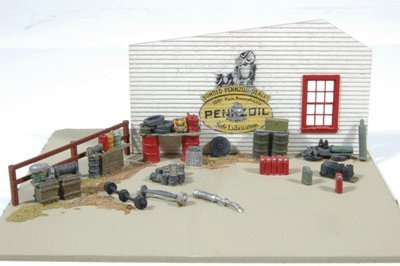 GAS STATION - STACKS OF STUFF AND JUNK DETAIL SET - JL INNOVATIVE DESIGN HO SCALE MODEL TRAIN ACCESSORIES 497