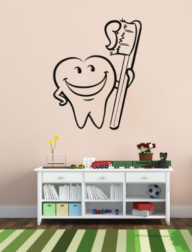 Housewares Vinyl Decal Tooth With Brush Dental Clinics Dentist Wall Art Decor Removable Stylish Sticker Mural Unique Design For Any Room front-239869