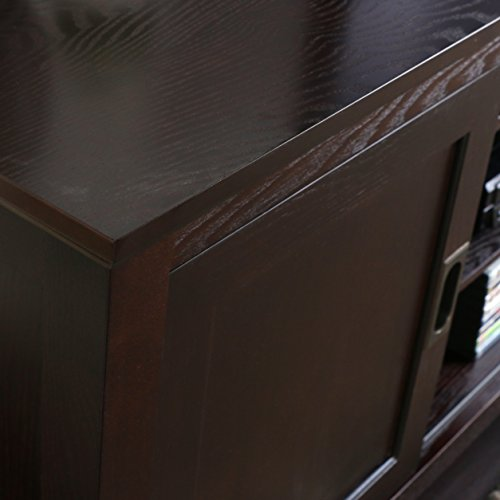 """WE Furniture 70"""" Wood TV Console with Sliding Doors, Espresso"""