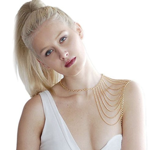 Most Beloved Layered Shoulder Body Chain Jewelry Body Harness Fine Chain Gold and Silver Tone