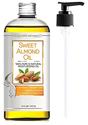 Sweet Almond Oil, Triple AAA+ Grade Quality, For Hair, For Skin and For Face, 100% Pure and Organic from Spain, Cold Pressed , 16 fl oz by Pure Body Naturals