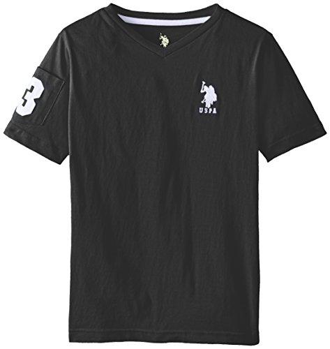 U.S. Polo Assn. Big Boys' Solid V-Neck T-Shirt, Black/White, 18