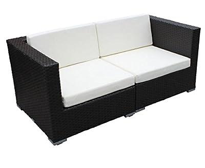 Polyrattan 5080 Sofa 2-Sitzer 2x Ecken schwarz von GARINO® von GARINO® - Gartenmöbel von Du und Dein Garten