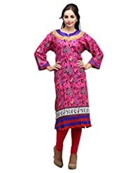 Dashmesh Womens Cotton Straight Kurta (De133 _Pink )