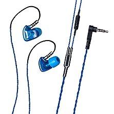buy Granvela S50 Sport Earphones Noise Isolating In-Ear Headphones With Memory Wire/Memory Foam And Microphone (Blue)