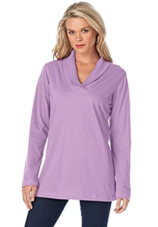 ce5fca77 Roamans Women's Plus Size Shawl Collar Ultimate Tee