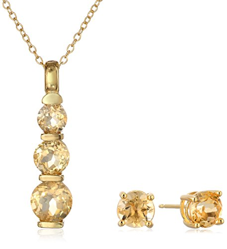 18k Yellow Gold Plated Sterling Silver Citrine Journey Pendant Necklace and Stud Earrings Set