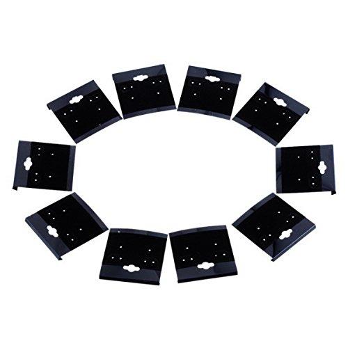 Housweety 卸売り・アクセサリーパーツ・ディスプレイ用イヤリング・ピアス用台紙 ブラック(黒い)100枚入
