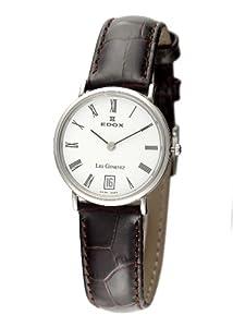 (再降)瑞士依度女式26013 3P BR LES Genevez白色表盘棕色皮革罗马数字手表$428.08