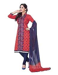 RK Fashion Womens Cotton Un-Stitched Salwar Suit Dupatta Material ( MITTAL-SANAM-7019-Red-Free Size )