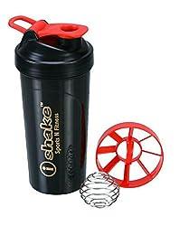 Ishake Power Ball Shaker Bottle 600 ml , (Black Body, Red Lid)