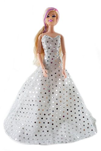 Barbie Sequins Wedding Dress, Bride Barbie Gown - Dolls NOT Included