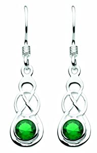 Heritage Womens Silver Plated and Green Glass Knot Drop Earrings SP52811GG