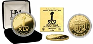 Highland Mint Superbowl XLV Commerative 24kt Gold Coin