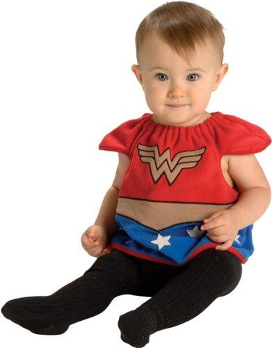 Justice League Deluxe Bib Wonder Woman, Wonder Woman Print, Newborn 0-9 One Size Costume