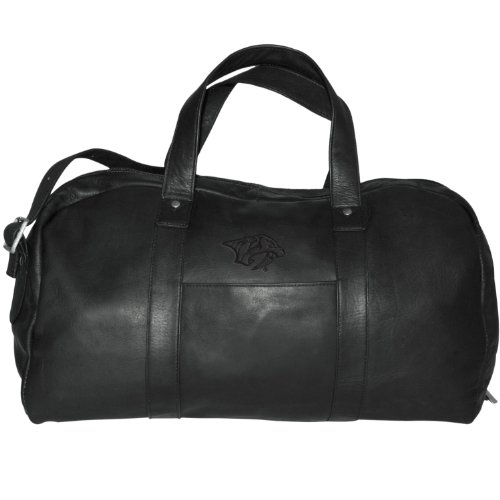 Nhl Nashville Predators Black Leather Corey Duffel Bag