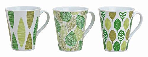 Ø9cm tasses 11 cm, 300 ml-lot de 6 tasses à café 3 pièces, en style :  vert avec motif feuilles blanc/tasse à café - 3 pièces