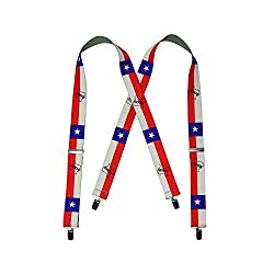 Tall Size Texan Texas Flag Men's Clip End Suspenders (up to 54