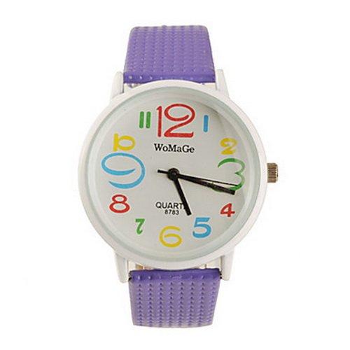 Art Font Koera Style PU Leather Band Fashion Cute Students Lady's Wrist Watch (Purple)