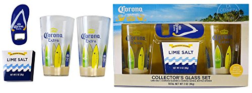 Corona Extra Collectors Set 16oz Beer Glasses w/ Corona Surf Board Decal Wrapped Pint Glasses Set of Two (2) with Flip Flop Corona Bottle Opener & Lime Flavored Rimming Salt (Flip Flop Bottle Opener Set compare prices)