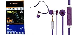 JIYANSHI Samsung Galaxy Mega 5.8 Compatible Combo of Screen Guard/Screen Protector & Earphone With Super Sound (Purple)