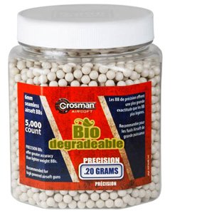 Crosman Biodegradable AirSoft BBs (5000 .20G 6mm, White BBs)