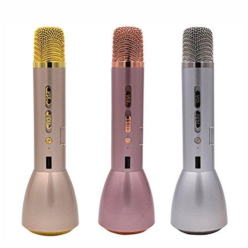 Generic , Gold : K088 3 In 1 Magic Karaoke Microphone Wireless Bluetooth Microphone & Bluetooth Speaker & Power...
