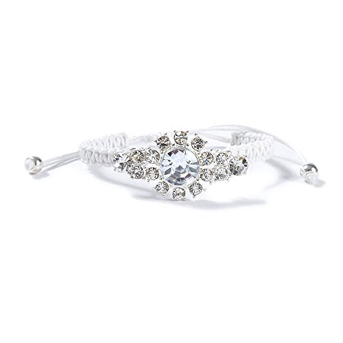 Claire'S Accessories Girls Crystal Flower Burst And Braided Cord Bracelet